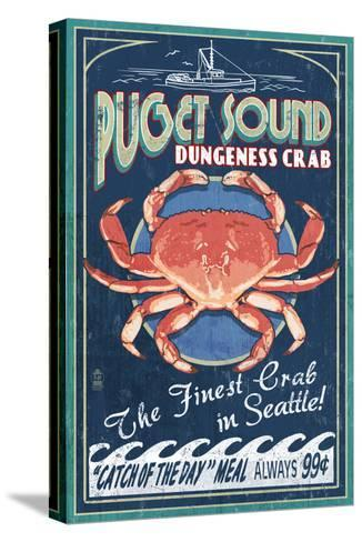 Seattle, Washington - Dungeness Crab-Lantern Press-Stretched Canvas Print