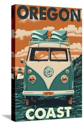 Oregon Coast - VW Van-Lantern Press-Stretched Canvas Print