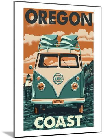 Oregon Coast - VW Van-Lantern Press-Mounted Art Print