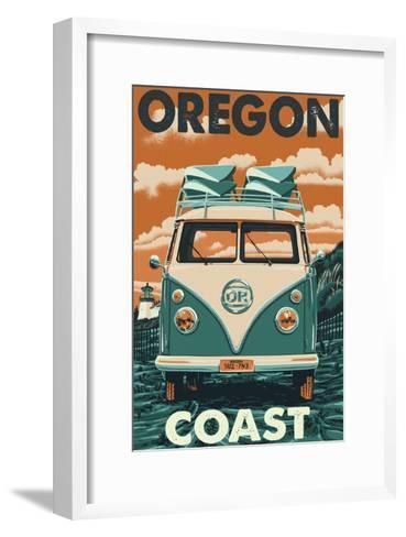 Oregon Coast - VW Van-Lantern Press-Framed Art Print