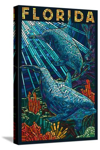 Dolphin Paper Mosaic - Florida-Lantern Press-Stretched Canvas Print
