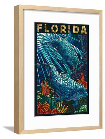 Dolphin Paper Mosaic - Florida-Lantern Press-Framed Art Print