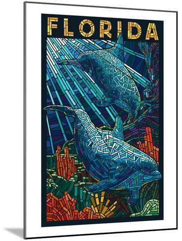 Dolphin Paper Mosaic - Florida-Lantern Press-Mounted Art Print