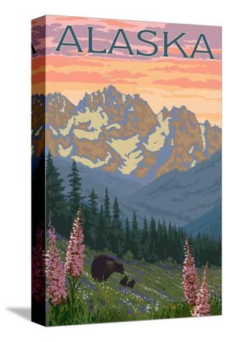 Alaska - Bear and Cubs Spring Flowers-Lantern Press-Stretched Canvas Print