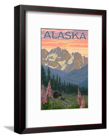 Alaska - Bear and Cubs Spring Flowers-Lantern Press-Framed Art Print