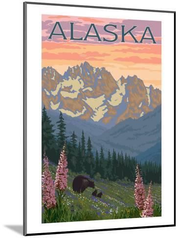 Alaska - Bear and Cubs Spring Flowers-Lantern Press-Mounted Art Print