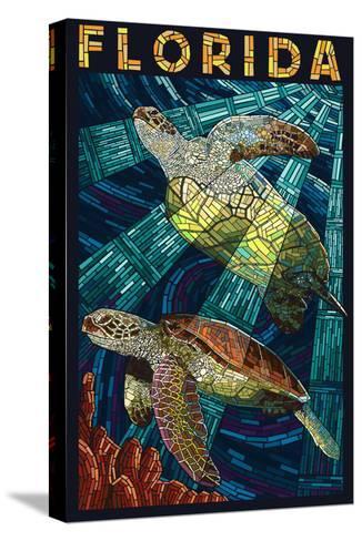 Sea Turtle Paper Mosaic - Florida-Lantern Press-Stretched Canvas Print