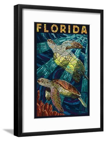 Sea Turtle Paper Mosaic - Florida-Lantern Press-Framed Art Print