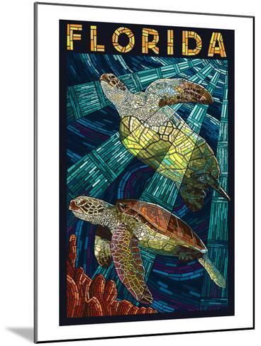 Sea Turtle Paper Mosaic - Florida-Lantern Press-Mounted Art Print