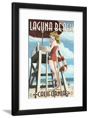 Laguna Beach, California - Lifeguard Pinup-Lantern Press-Framed Art Print