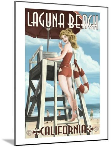 Laguna Beach, California - Lifeguard Pinup-Lantern Press-Mounted Art Print