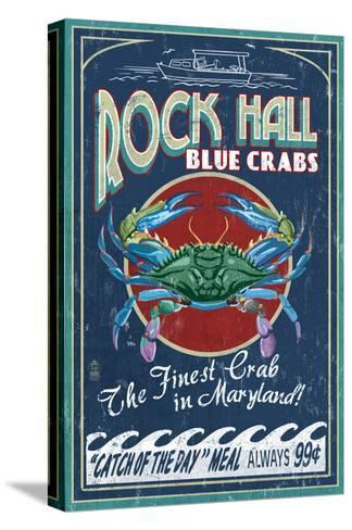 Rock Hall, Maryland - Blue Crabs-Lantern Press-Stretched Canvas Print