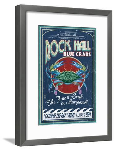 Rock Hall, Maryland - Blue Crabs-Lantern Press-Framed Art Print