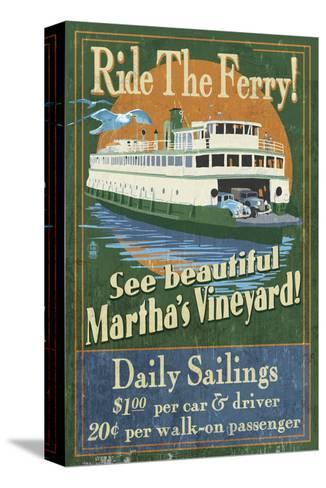Martha's Vineyard, Massachusetts - Ferry Ride-Lantern Press-Stretched Canvas Print