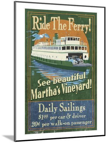 Martha's Vineyard, Massachusetts - Ferry Ride-Lantern Press-Mounted Art Print