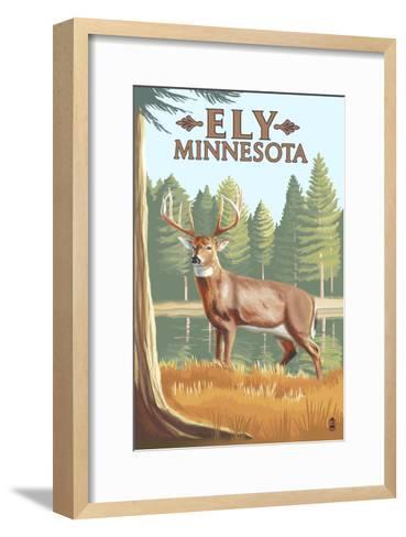 Ely, Minnesota - White Tailed Deer-Lantern Press-Framed Art Print