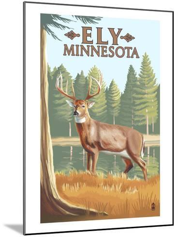 Ely, Minnesota - White Tailed Deer-Lantern Press-Mounted Art Print