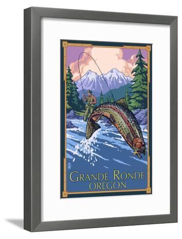 Lagrande, Oregon - Fly Fishing-Lantern Press-Framed Art Print