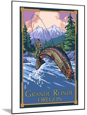 Lagrande, Oregon - Fly Fishing-Lantern Press-Mounted Art Print