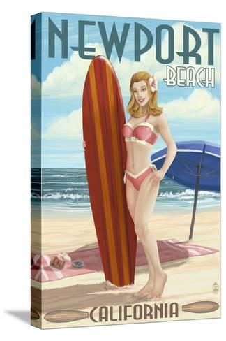Newport Beach, California - Pinup Surfer Girl-Lantern Press-Stretched Canvas Print