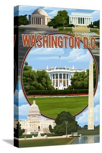 Washington DC - Montage-Lantern Press-Stretched Canvas Print