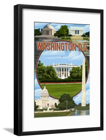 Washington DC - Montage-Lantern Press-Framed Art Print