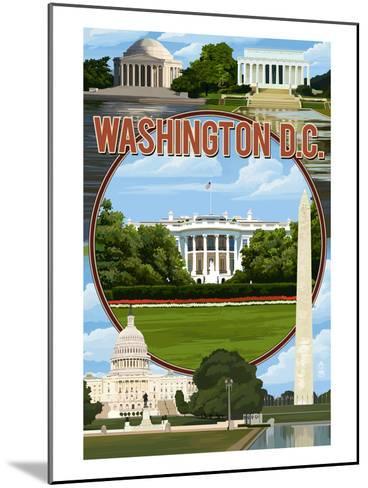 Washington DC - Montage-Lantern Press-Mounted Art Print