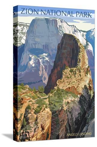 Zion National Park - Angels Landing-Lantern Press-Stretched Canvas Print