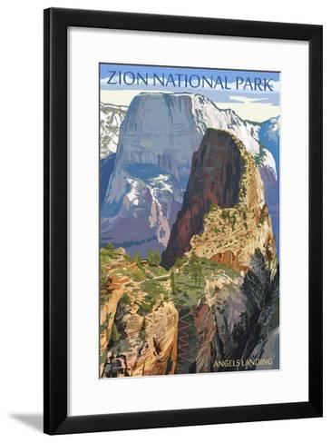 Zion National Park - Angels Landing-Lantern Press-Framed Art Print
