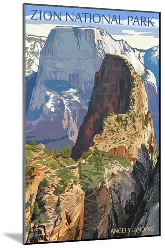 Zion National Park - Angels Landing-Lantern Press-Mounted Art Print
