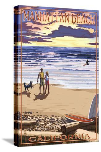 Manhattan Beach, California - Sunset Beach Scene-Lantern Press-Stretched Canvas Print