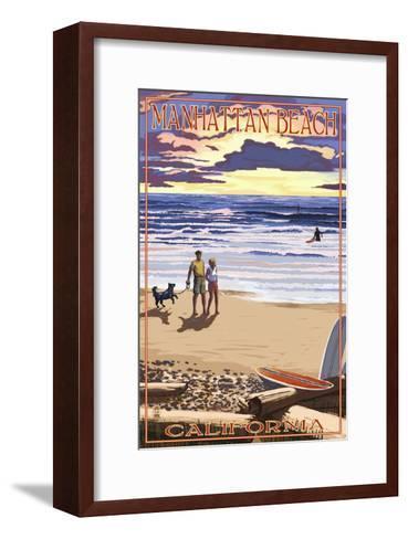 Manhattan Beach, California - Sunset Beach Scene-Lantern Press-Framed Art Print