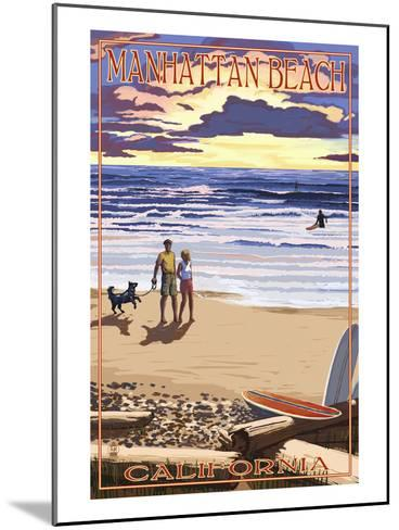 Manhattan Beach, California - Sunset Beach Scene-Lantern Press-Mounted Art Print