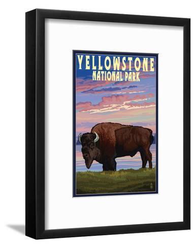 Yellowstone National Park - Bison and Sunset-Lantern Press-Framed Art Print