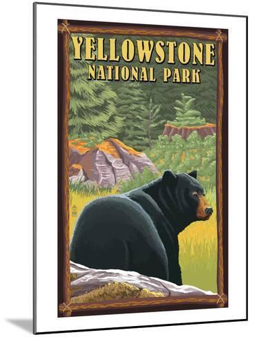 Yellowstone National Park - Black Bear in Forest-Lantern Press-Mounted Art Print