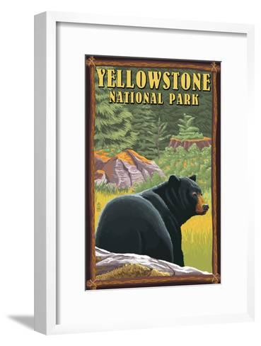 Yellowstone National Park - Black Bear in Forest-Lantern Press-Framed Art Print