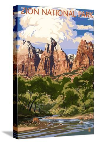 Zion National Park - Virgin River and Peaks-Lantern Press-Stretched Canvas Print