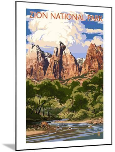 Zion National Park - Virgin River and Peaks-Lantern Press-Mounted Art Print