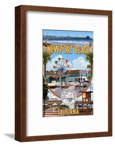 Newport Beach, California - Newport Beach Montage-Lantern Press-Framed Art Print
