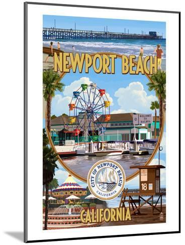 Newport Beach, California - Newport Beach Montage-Lantern Press-Mounted Art Print