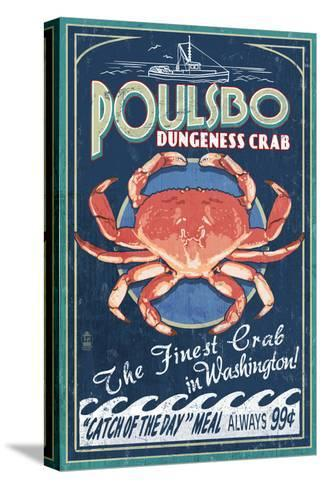 Poulsbo, Washington - Dungeness Crab-Lantern Press-Stretched Canvas Print