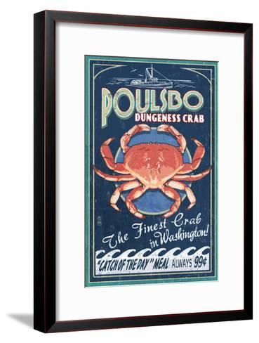 Poulsbo, Washington - Dungeness Crab-Lantern Press-Framed Art Print
