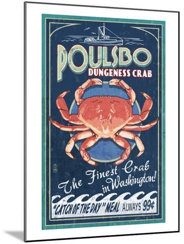 Poulsbo, Washington - Dungeness Crab-Lantern Press-Mounted Art Print