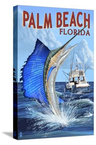 Palm Beach, Florida - Sailfish Scene-Lantern Press-Stretched Canvas Print