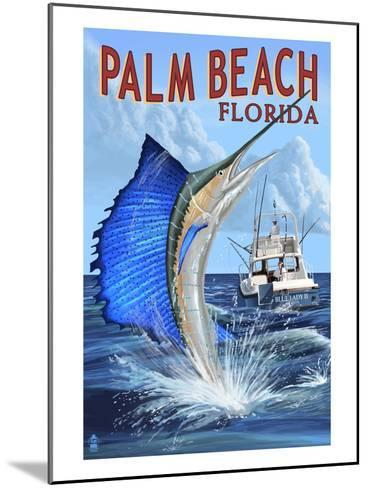Palm Beach, Florida - Sailfish Scene-Lantern Press-Mounted Art Print