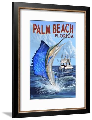 Palm Beach, Florida - Sailfish Scene-Lantern Press-Framed Art Print