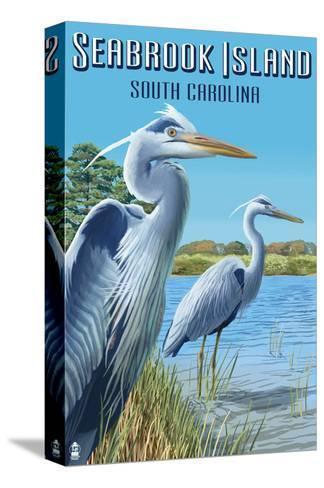 Seabrook Island, South Carolina - Blue Herons-Lantern Press-Stretched Canvas Print