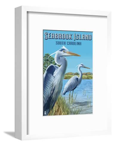 Seabrook Island, South Carolina - Blue Herons-Lantern Press-Framed Art Print
