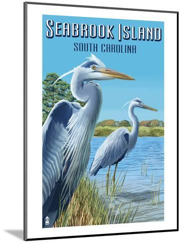Seabrook Island, South Carolina - Blue Herons-Lantern Press-Mounted Art Print