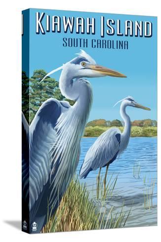 Kiawah Island, South Carolina - Blue Herons-Lantern Press-Stretched Canvas Print